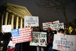 Demonstrators in Paris on Tuesday protest President Donald Trump and his administration's ban of travelers from seven Muslim-majority countries. On this side of the ocean, members of the president's own party have not displayed profiles in courage in questioning his policies.