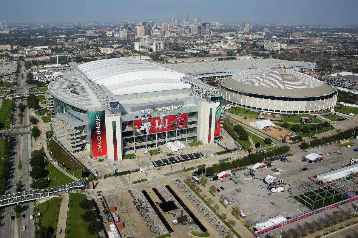 Photo: Super Bowl from above An aerial view of NRG Stadium from a Customs and Border Protection UH-60 Black Hawk helicopter before Super Bowl LI Thursday, Feb. 2, 2017 in Houston. Keep going for an aerial view of Houston's Super Bowl festivities as seen from a Black Hawk helicopter.