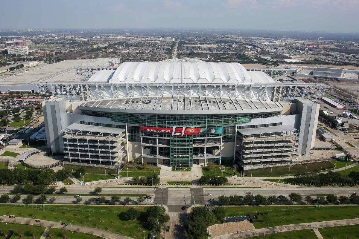 An aerial view of NRG Stadium from a Customs and Border Protection UH-60 Black Hawk helicopter before Super Bowl LI Thursday, Feb. 2, 2017 in Houston.