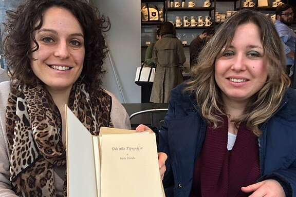 Elisa and Eleonora Tallone with Neruda tribute to their grandfather