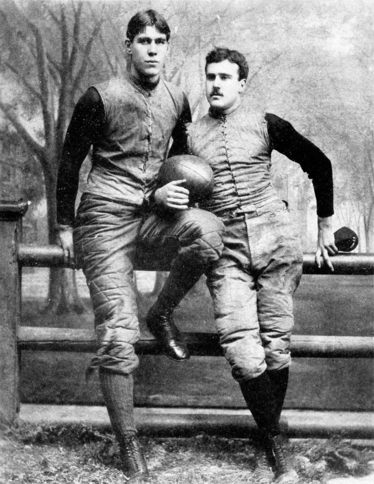 """William """"Pudge"""" Heffelfinger (l), shown here with his Yale teammate Tom """"Bum"""" McClung, was America's first professional football player. A Minnesota native, he called himself a Texan after marrying into a prominent South Texas family."""