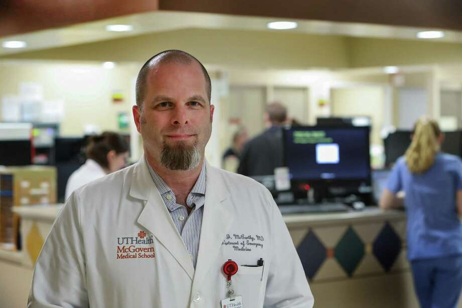 Dr. Jamie McCarthy,an emergency room physician at the Memorial Hermann Red Duke Trauma        Institute,will be on the sidelines of the Super Bowl monitoring players for concussions, photographed Thursday, Feb. 2, 2017, in Houston. Photo: Steve Gonzales, Houston Chronicle / © 2017 Houston Chronicle
