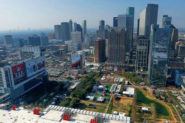 An aerial view of Discovery Green and Super Bowl Live from a Customs and Border Protection UH-60 Black Hawk helicopter before Super Bowl LI Thursday, Feb. 2, 2017 in Houston. On Sunday a total of five Customs and Border Protection helicopters and three airplanes will be enforcing a temporary flight restriction for aircraft within a 30 mile radius of NRG Stadium.