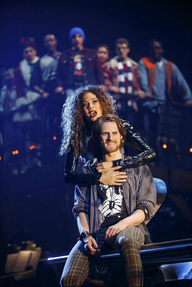 """Skyler Volpe, Kaleb Wells and the company of """"Rent,"""" now at the Golden Gate Theatre. Photo: Carol Rosegg, SHN"""