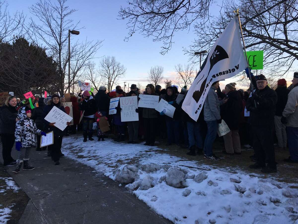 A vigil at the Jewish Community Center in Albany drew hundreds of people standing up for the JCC and against hate and anti-Semitism on Tuesday afternoon, Feb. 2, 2017