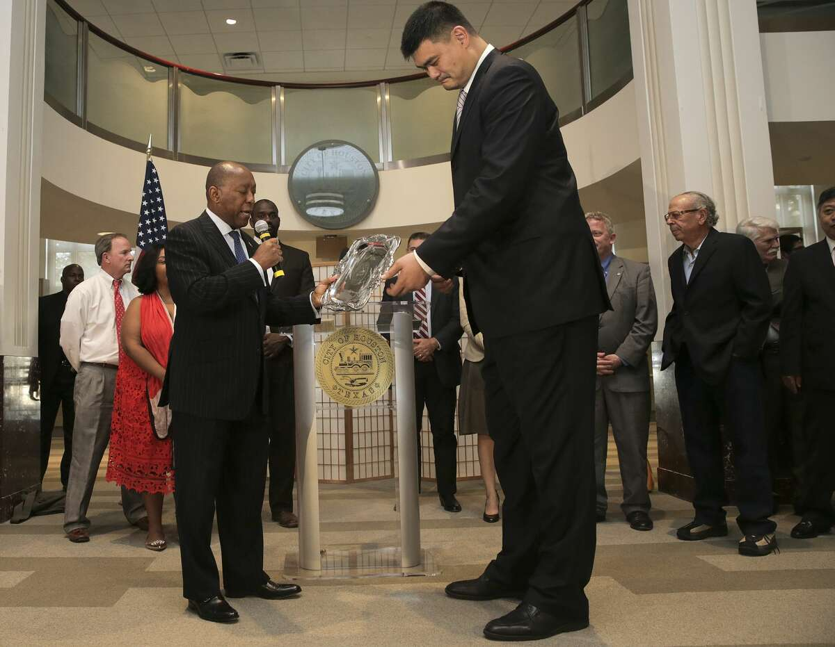 Former Houston Rocket Yao Ming receives recognition from Mayor Sylvester Turner for his work as a goodwill ambassador for Houston on and off the basketball court on Thursday, Feb. 2, 2017, in Houston. ( Elizabeth Conley / Houston Chronicle )