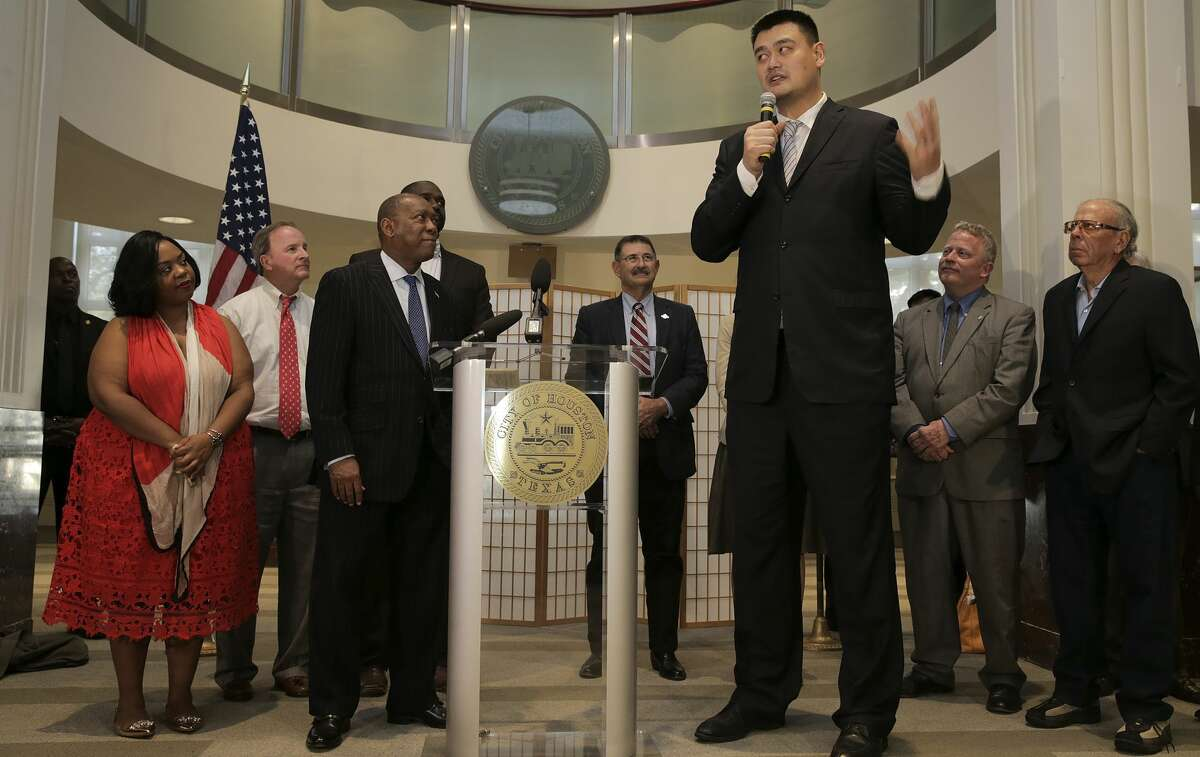 Former Houston Rocket Yao Ming gives remarks after receiving recognition from Mayor Sylvester Turner for his work as a goodwill ambassador for Houston on and off the basketball court on Thursday, Feb. 2, 2017, in Houston. ( Elizabeth Conley / Houston Chronicle )