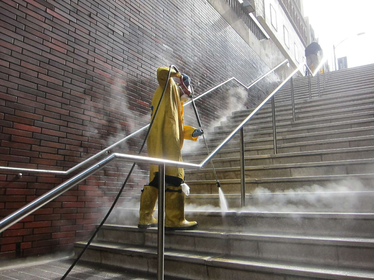 FILE PHOTO: A BART station cleaner.