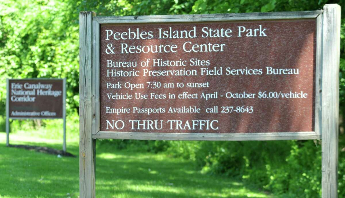 The sign leading into the Peebles Island State Park & Resource Center in Cohoes. State Police are investigating the suspected drowning of a woman in the park on Sunday, July 26, 2020. (Eliza Mineaux/Special to the Times Union)