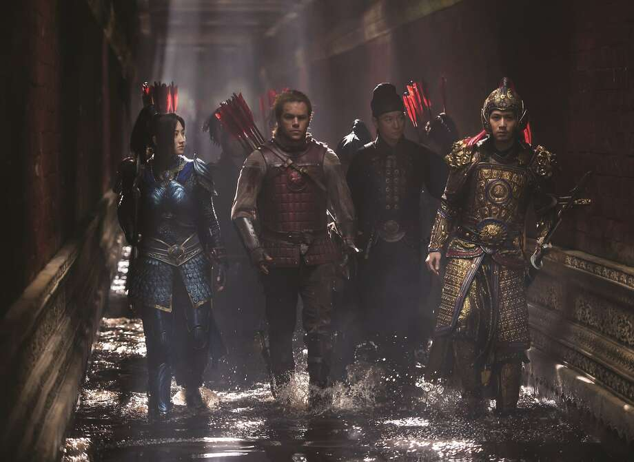 """L-R: Jing Tian as Commander Lin Mae, Matt Damon as William Garin, Andy Lau as Strategist Wang and Cheney Chen as Imperial Guard in Legendary's """"The Great Wall,"""" opening at Bay Area theaters on Friday, February 17. Photo by Jasin Boland, courtesy of Universal Studios. Photo: Universal Studios"""