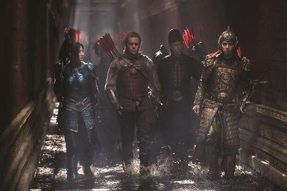 """L-R: Jing Tian as Commander Lin Mae, Matt Damon as William Garin, Andy Lau as Strategist Wang and Cheney Chen as Imperial Guard in Legendary's """"The Great Wall,"""" opening at Bay Area theaters on Friday, February 17. Photo by Jasin Boland, courtesy of Universal Studios."""