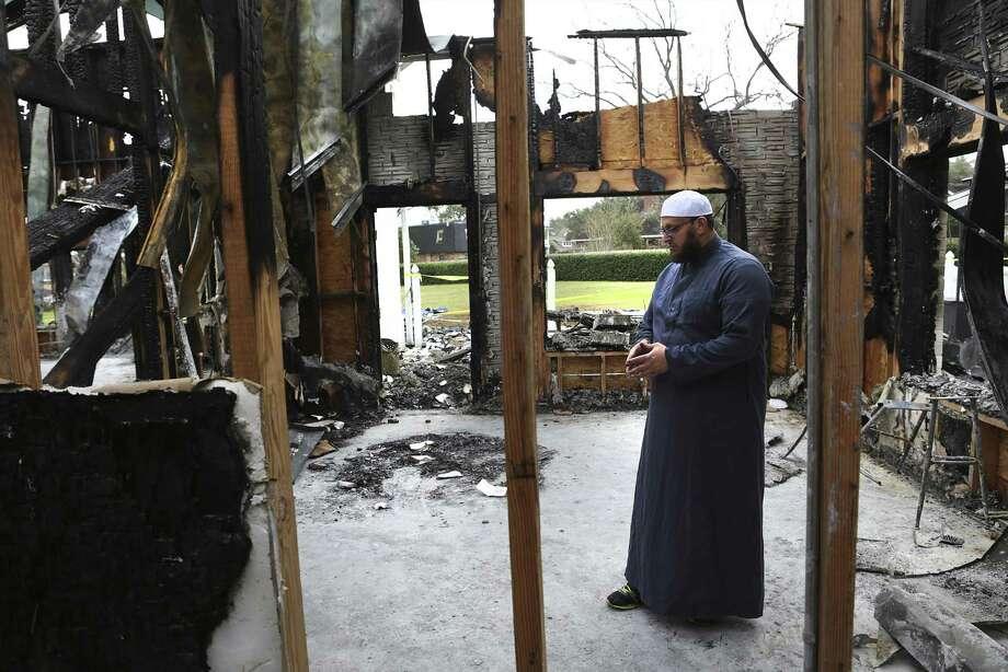 Imam Osama Hassan looks over the total loss of the Victoria Islamic Center, in Victoria, Texas on Tuesday, Feb. 2, 2017. Photo: Bob Owen, Staff / San Antonio Express-News / ©2017 San Antonio Express-News