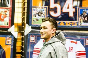 Former Aggie Johnny Manziel arriving  for an autograph session for fans during a Johnny Manziel autograph event at Stadium Signatures, Thursday, February 2, 2017, in Houston. (Juan DeLeon/Houston Chronicle )