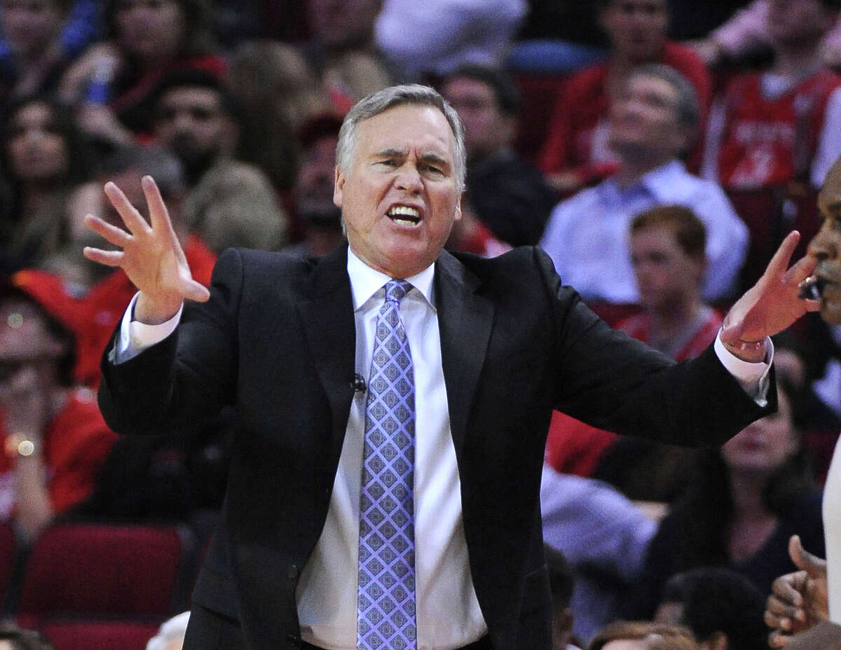Houston Rockets head coach Mike D'Antoni reacts during the second half of the team's NBA basketball game against the Atlanta Hawks on Thursday, Feb. 2, 2017, in Houston. (AP Photo/George Bridges)