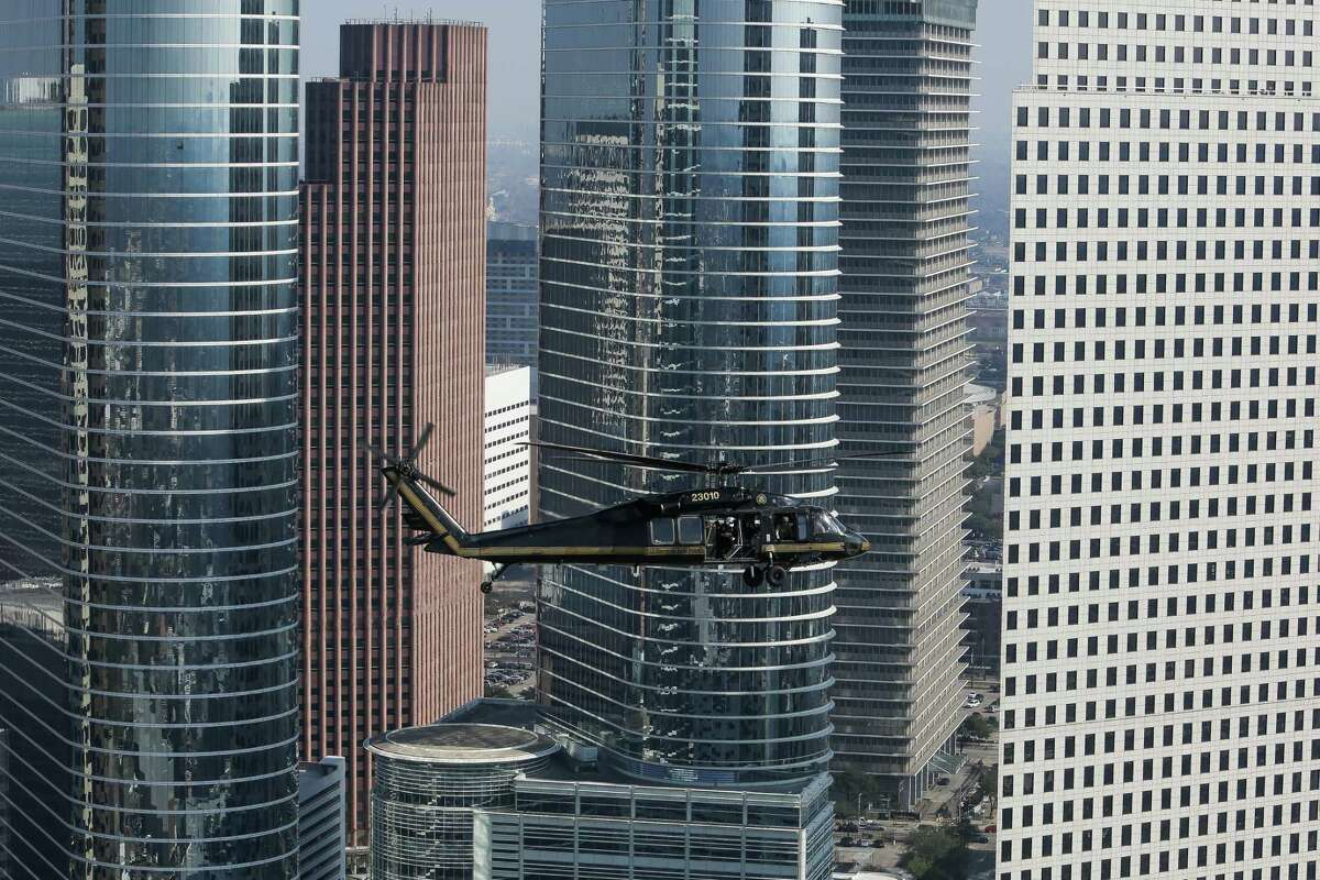 The tallest buildings in Houston Keep going for a look at the 30 tallest towers that shape Houston's skyline.  A Customs and Border Protection UH-60 Black Hawk helicopter flies over downtown Houston before Super Bowl LI Thursday, Feb. 2, 2017.