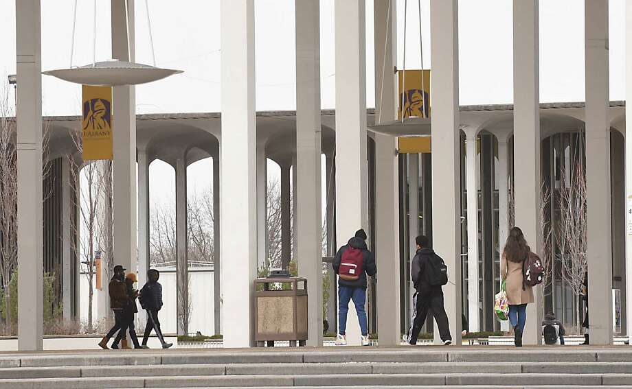 Students walk to their classes at University at Albany on Thursday Feb. 2, 2017 in Albany, N.Y. (Lori Van Buren / Times Union) , Photo: Lori Van Buren / 20039605A