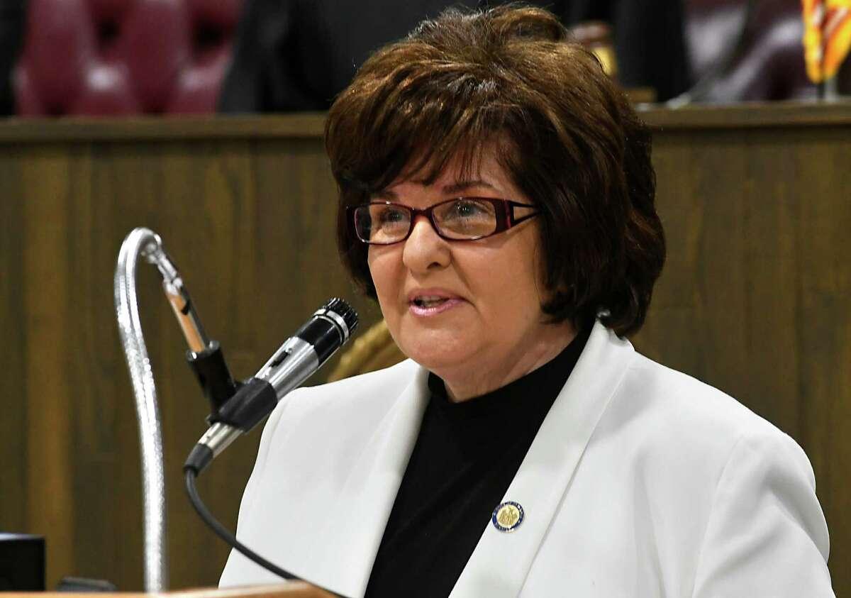 State Senator Kathleen Marchione speaks after being sworn in at the Rensselaer County Legislature Chambers on Sunday, Jan. 1, 2017 in Troy, N.Y. (Lori Van Buren / Times Union)