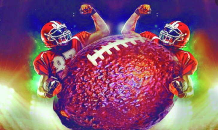 Detail of a promotional photo of the state of Michoacan, Mexico, invitation to the first ever avocado bowl party during a Super Bowl, in Houston 2017.