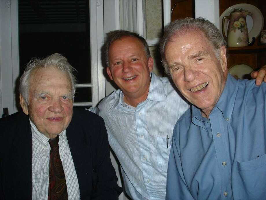 Andy Rooney, Paul Grondahl and Bill Kennedy at Hickory Hill in Rensselaerville in summer of 2009. (Times Union archive)