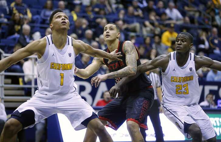 California's Ivan Rabb (1) and Jabari Bird box out Utah's Kyle Kuzma during Cal's 77-75 double overtime win in Pac12 men's basketball game at Haas Pavilion in Berkeley, Calif., on Thursday, February 2, 2017.