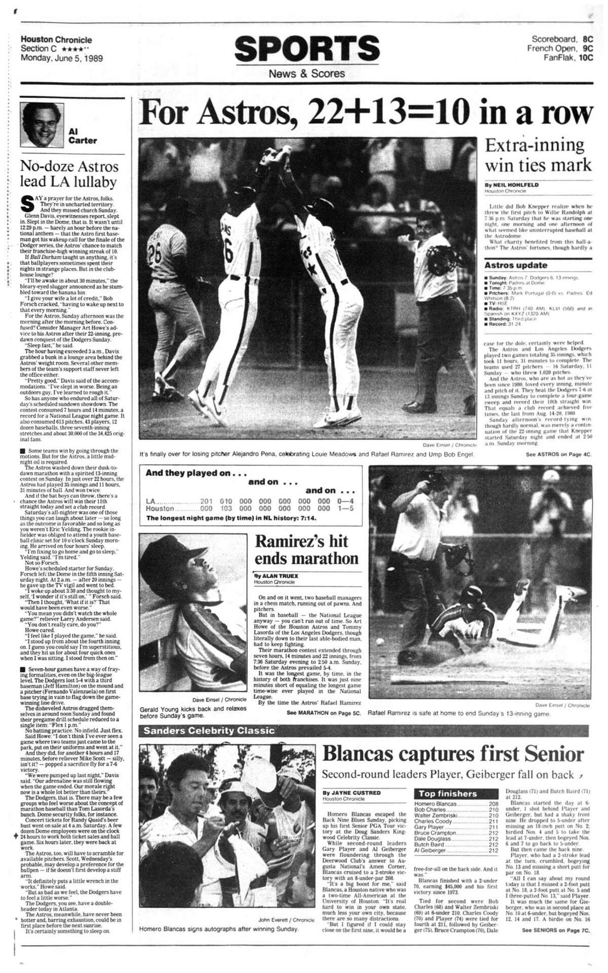 Houston Chronicle inside page (HISTORIC) Â?- June 5, 1989 - section C, page 1. For Astros, 22&13=10 in a row. Extra-inning win ties mark. Ramirez's hit ends marathon. (Astros Dodgers)