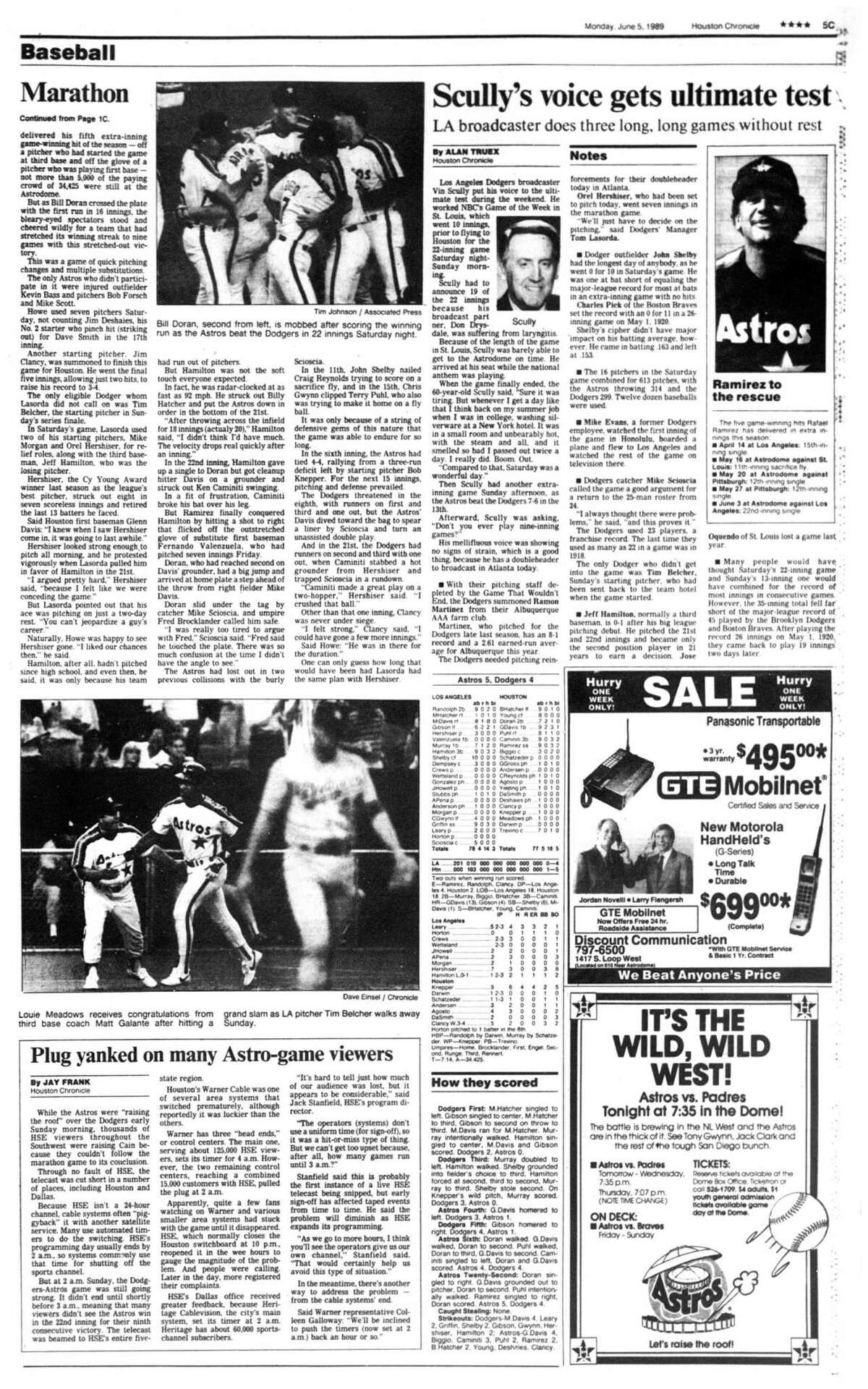 Houston Chronicle inside page (HISTORIC) Â?- June 5, 1989 - section C, page 5. Marathon. Scully's voice gets ultimate test. LA broadcaster does three long, long games without rest. Plug yanked on many Astro-game viewers. (Astros Dodgers)