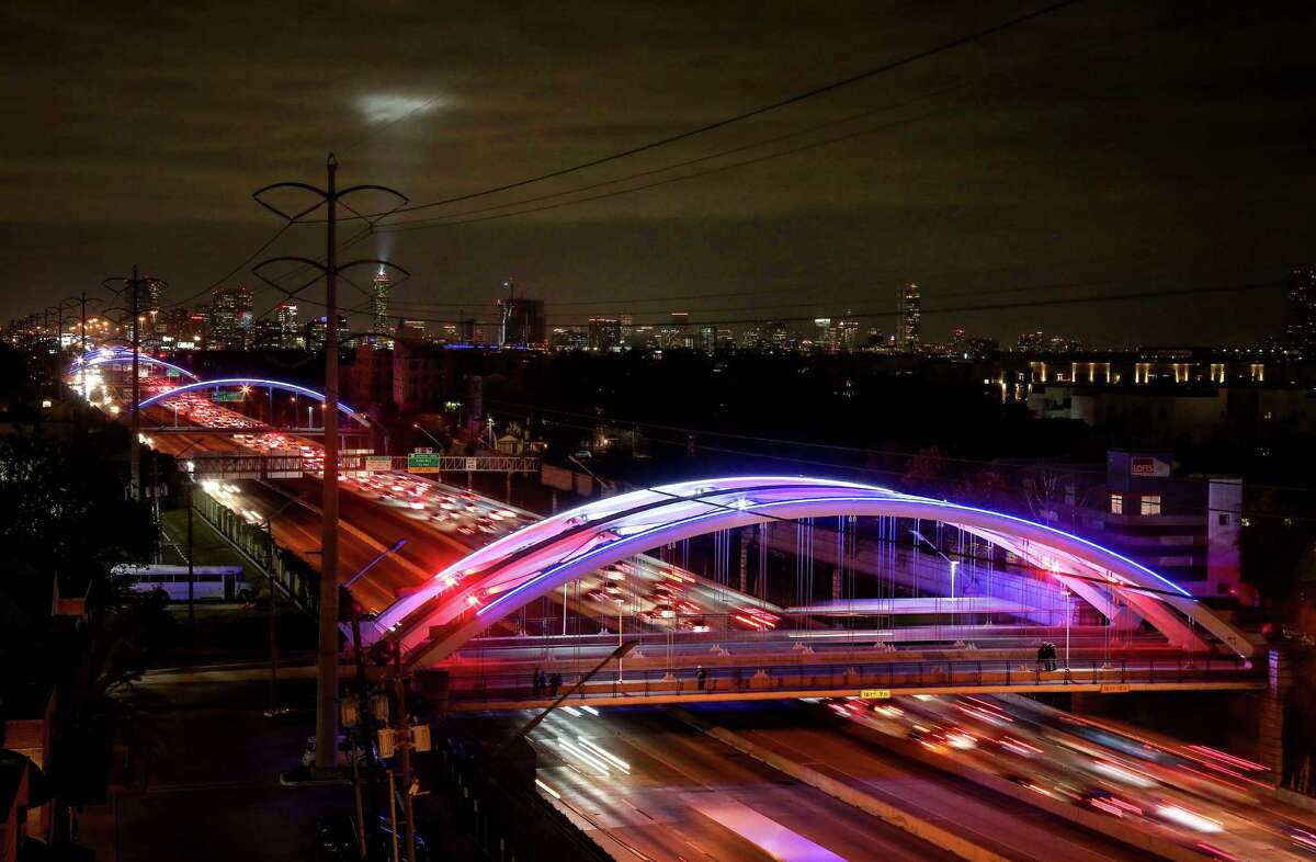 Super Bowl changes A series of bridges over Highway 59, in the Montrose area, are illuminated for the upcoming Super Bowl, Thursday, Feb. 2, 2017, in Houston. Click through to see more images of the bridges what changes came to Houston for Super Bowl LI.