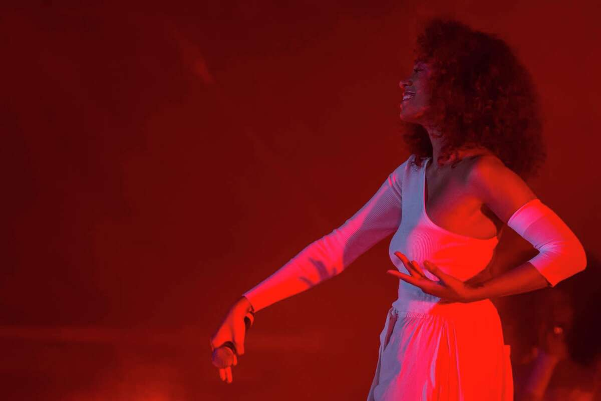 Solange performs at the Super Bowl Live, Thursday, Feb. 2, 2017, in Houston.