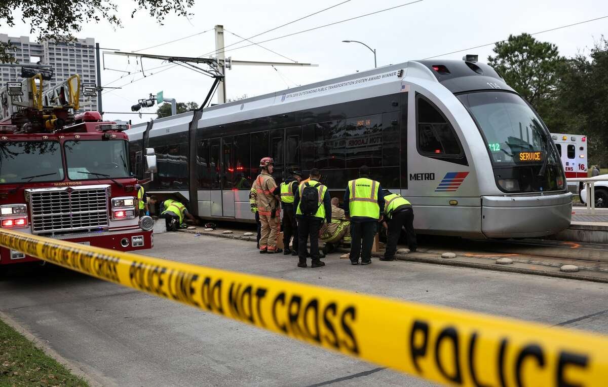 A METRO Rail hit and killed a female bicyclist at the intersection of Fannin Street and Sunset Boulevard next to Herman Park on Friday, February 3, in Houston. ( Yi-Chin Lee/ Houston Chronicle)