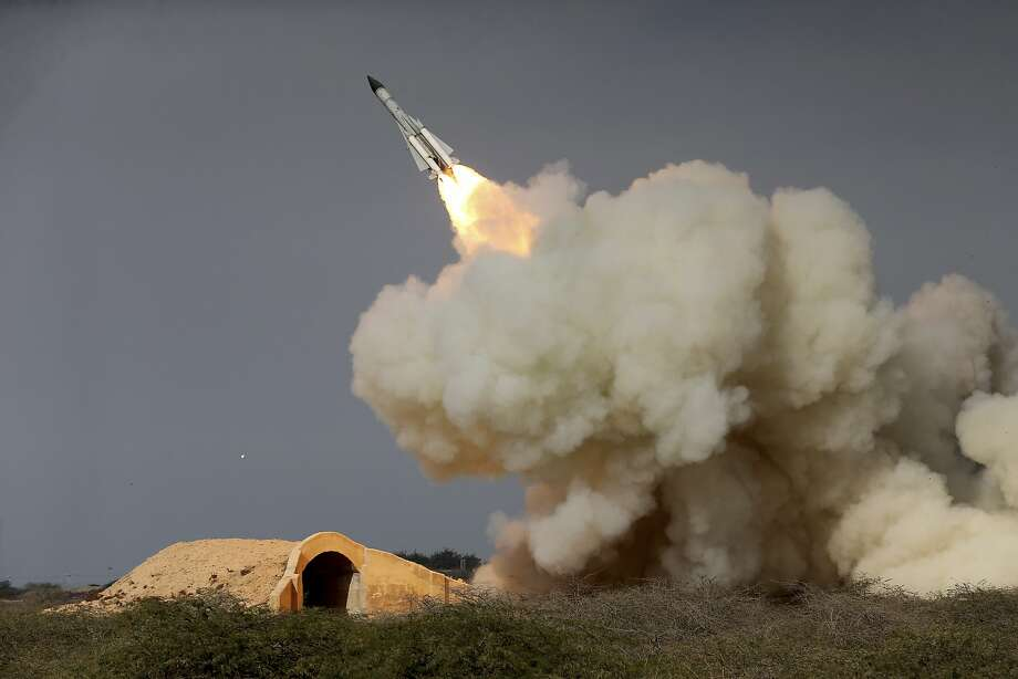 A long-range S-200 missile is fired in December in a military drill in the port city of Bushehr, Iran. Photo: Amir Kholousi, Associated Press