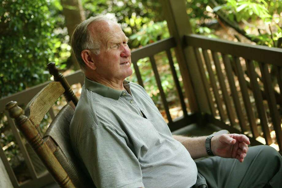 Tommy Nobis recalls his career in the NFL trenches in 2013 from the front porch of the family home in Sandy Springs, Ga. Photo: Curtis Compton /Atlanta Journal-Constitution / Atlanta Journal-Constitution