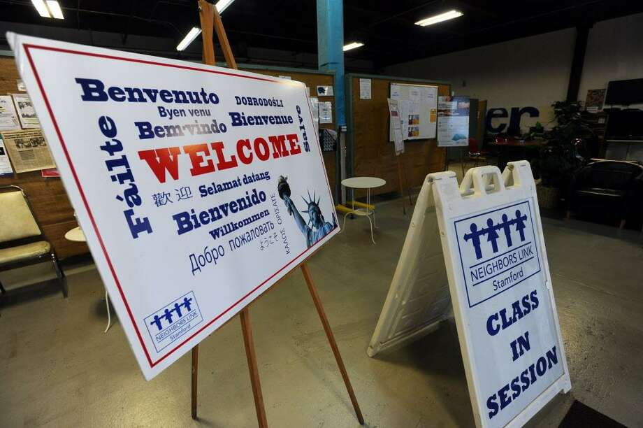 FILE — A welcome sign inside Building One Community, formerly Neighbors Link Stamford, in Stamford, Conn. on Thursday, Nov. 10, 2016. Photo: Michael Cummo / Hearst Connecticut Media / Stamford Advocate
