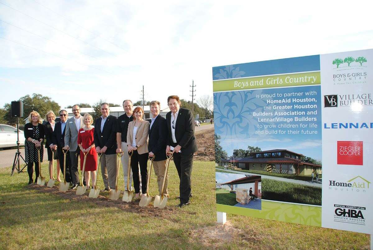 From left, Bette Moser, HomeAid Houston; Elaine Petranek, Boys and Girls Country; Tom Brown, Hamill Foundation; Marco Cordon, Lennar/Village Builders; Cindy Hinson, Lennar/Villages Builders; Salty Thomason, HomeAid; Jeff Adams, Lennar/Village Builders; Casey Morgan, GHBA; Bo Butler; GHBA and Lou Palma, Boys and Girls Country.
