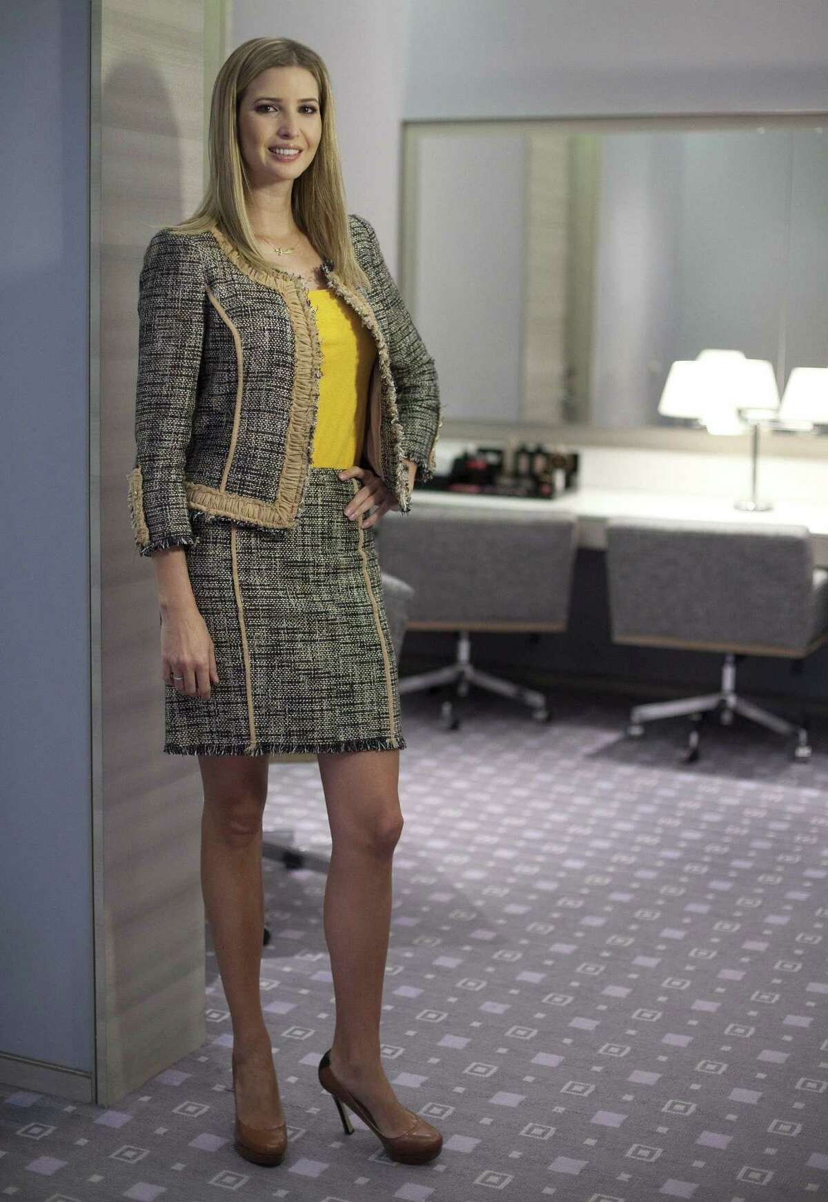 Ivanka Trump models an outfit following a 2015 interview to promote her clothing line in Toronto.