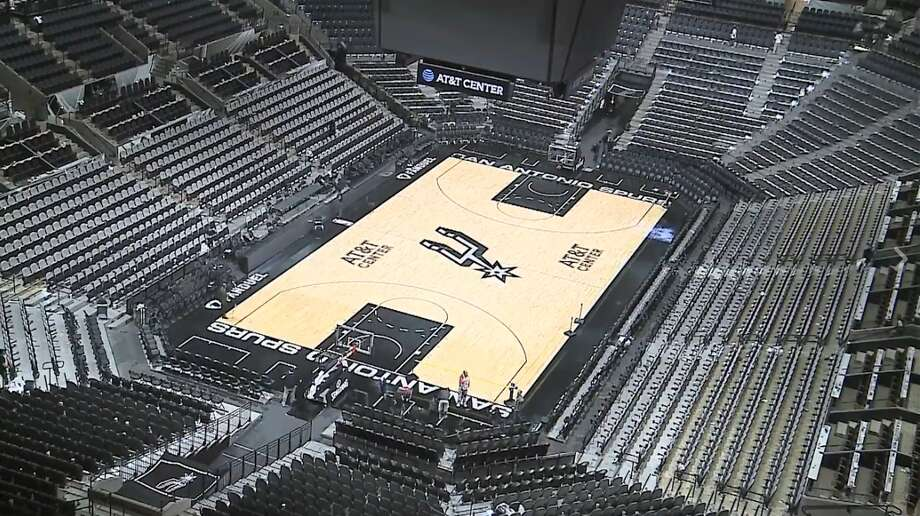The AT&T Center's court was transformed from a basketball court for the Spurs to a pink ice rink for the Feb. 3, 2017 San Antonio Rampage game. Photo: Courtesy/San Antonio Rampage