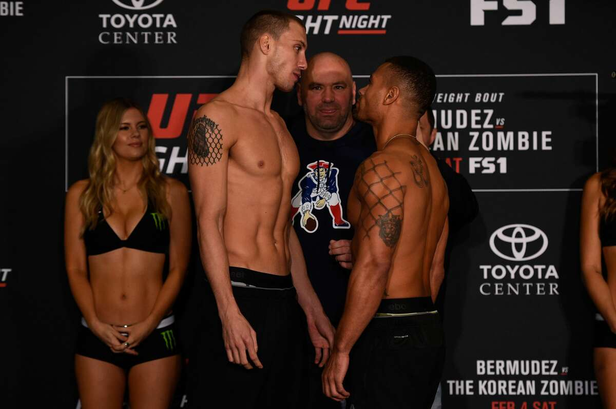 HOUSTON, TEXAS - FEBRUARY 03: (L-R) Opponents James Vick and Abel Trujillo face off during the UFC Fight Night weigh-in at the Sheraton North Houston at George Bush Intercontinental on February 3, 2017 in Houston, Texas. (Photo by Jeff Bottari/Zuffa LLC/Zuffa LLC via Getty Images)