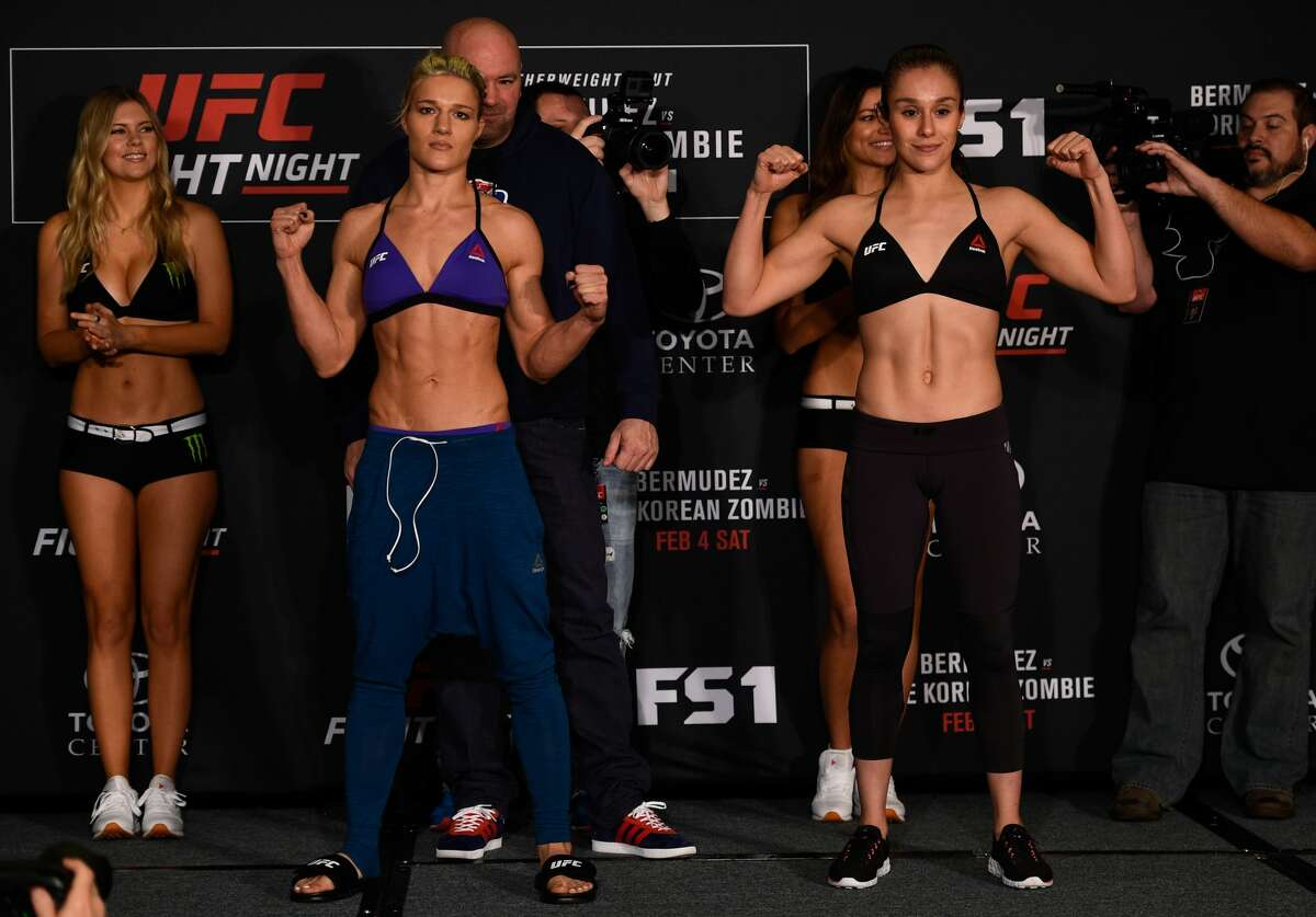 HOUSTON, TEXAS - FEBRUARY 03: (L-R) Opponents Felice Herrig and Alexa Grasso of Mexico pose for a picture during the UFC Fight Night weigh-in at the Sheraton North Houston at George Bush Intercontinental on February 3, 2017 in Houston, Texas. (Photo by Jeff Bottari/Zuffa LLC/Zuffa LLC via Getty Images)