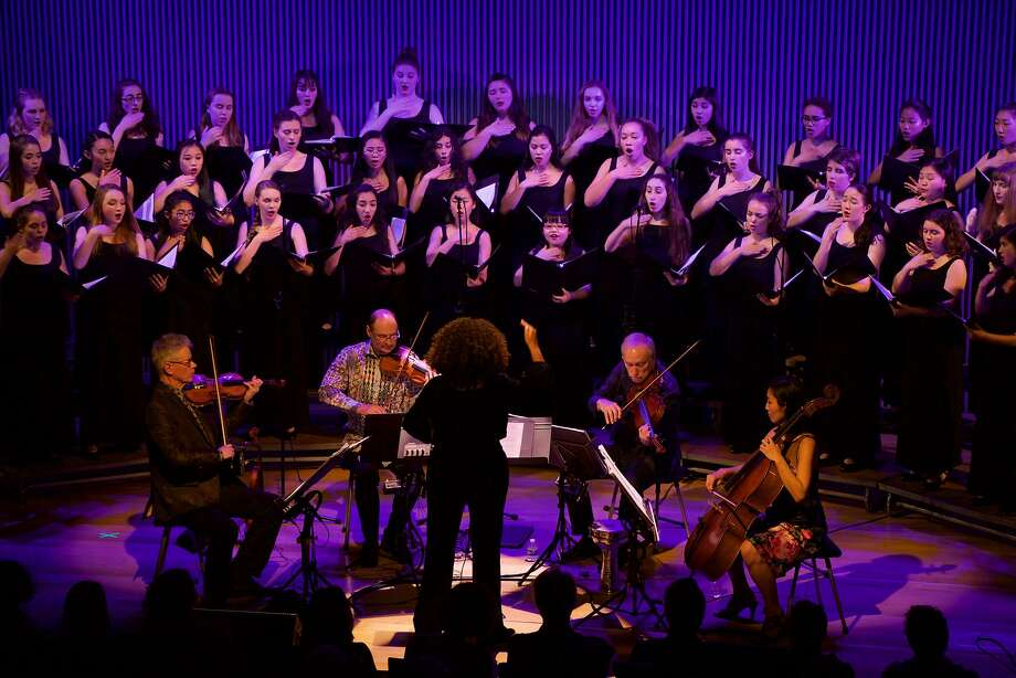 SF Girls Chorus, led by Valérie Sainte-Agathe, performs with the Kronos Quartet Photo: Evan Neff
