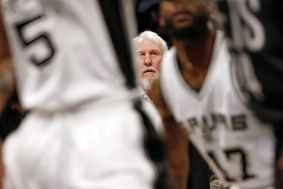 Spurs coach Gregg Popovich looks on during the first half against the Brooklyn Nets on Jan. 23, 2017, in New York. Photo: Adam Hunger /Associated Press / FR110666 AP