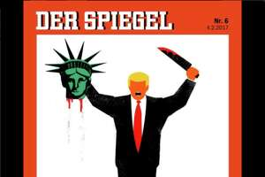 This week, several magazine cover's paint a dark picture of President Trump's first two weeks in office.   Above is a cover from the German magazine The Mirror, which features President Trump decapitating the head of The Statue of Liberty.