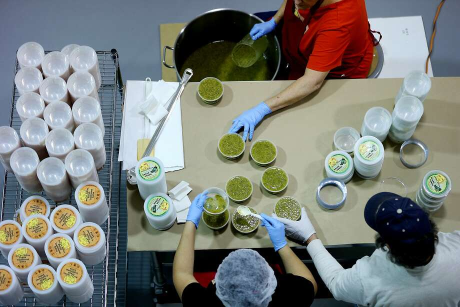 The five employees of Mrs. A's Famous Buena Salsa make every batch in the company's Santa Cruz kitchen. Leah Aguayo (a.k.a. Mrs. A, in red) pours salsa into containers as Lorena Santos (left) checks them and Rafael Aguayo seals each shut by hand. Photo: Santiago Mejia, The Chronicle