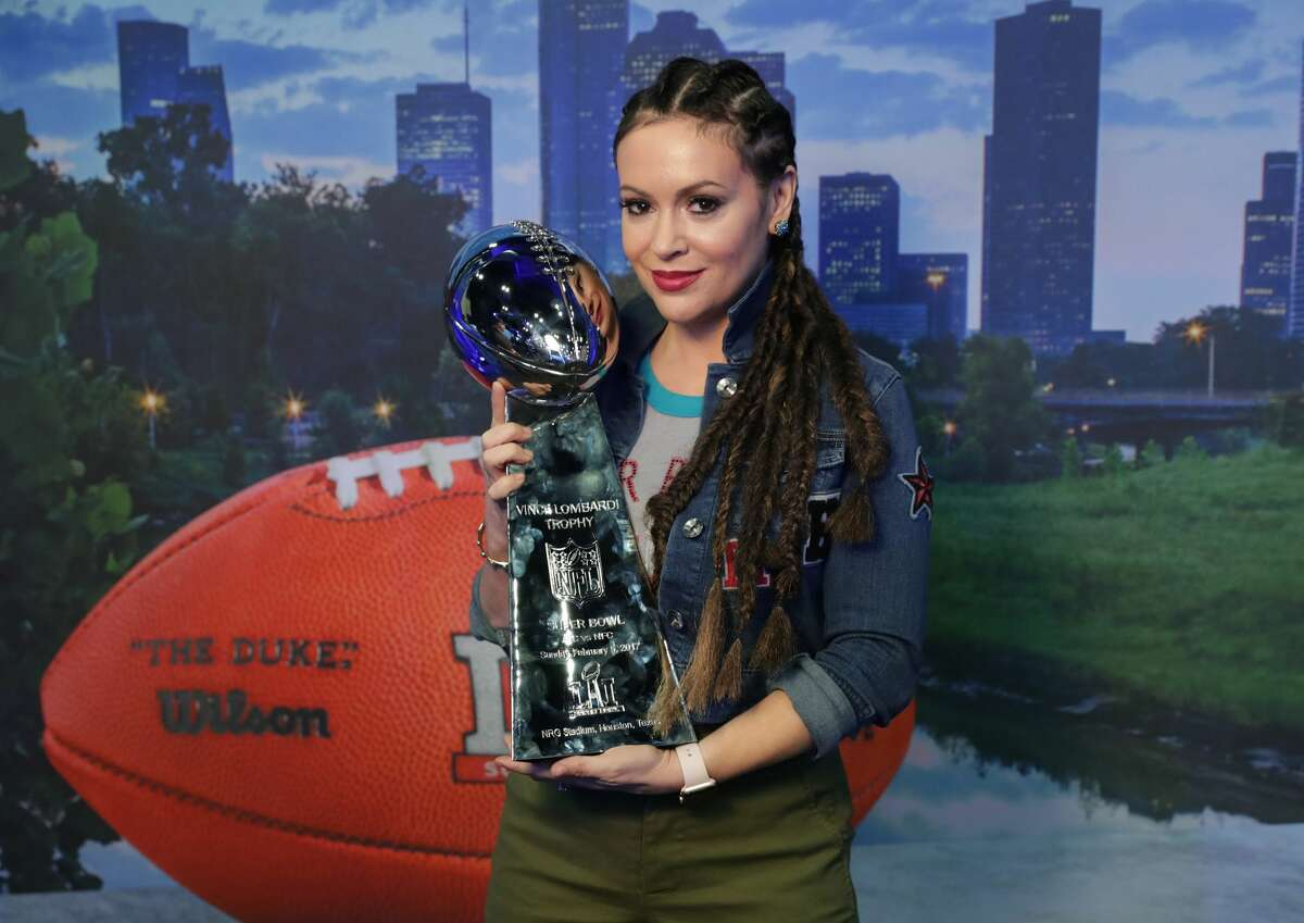 PHOTOS: Jenny McCarthy, Alyssa Milano, Tim Tebow and others visit Houston's Radio Row  Alyssa Milano visits the SiriusXM set at Super Bowl LI Radio Row at the George R. Brown Convention Center on February 3, 2017 in Houston, Texas. Click through to see who else was pressing the flesh in Houston on Friday morning...