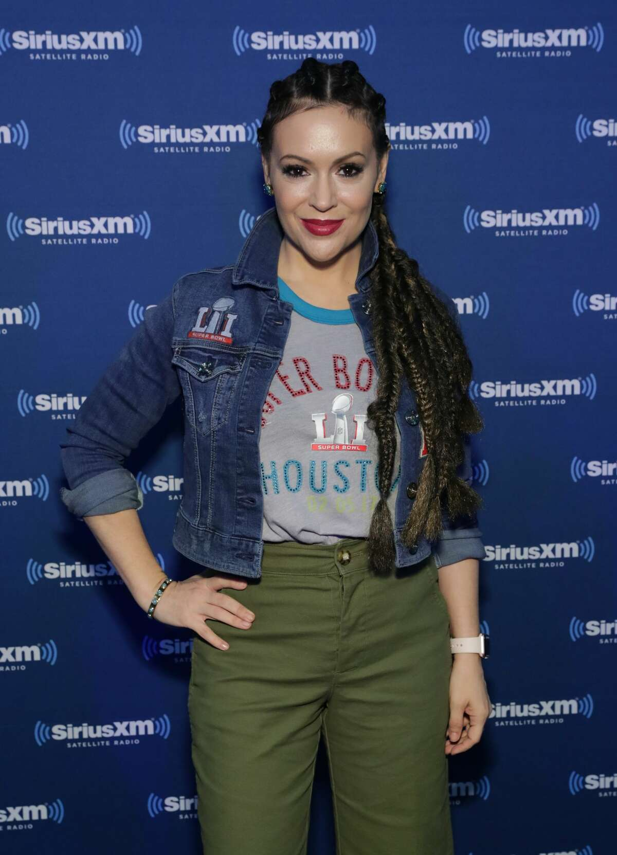 HOUSTON, TX - FEBRUARY 03: Alyssa Milano visits the SiriusXM set at Super Bowl LI Radio Row at the George R. Brown Convention Center on February 3, 2017 in Houston, Texas. (Photo by Cindy Ord/Getty Images for SiriusXM )