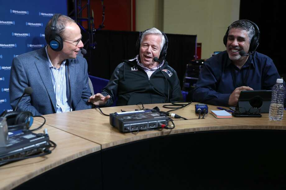 New England Patriots owner Robert Kraft, center, visits the SiriusXM set at Super Bowl LI Radio Row at the George R. Brown Convention Center on February 3, 2017 in Houston, Texas.See more images from Super Bowl 51. Photo: Cindy Ord/Getty Images For SiriusXM