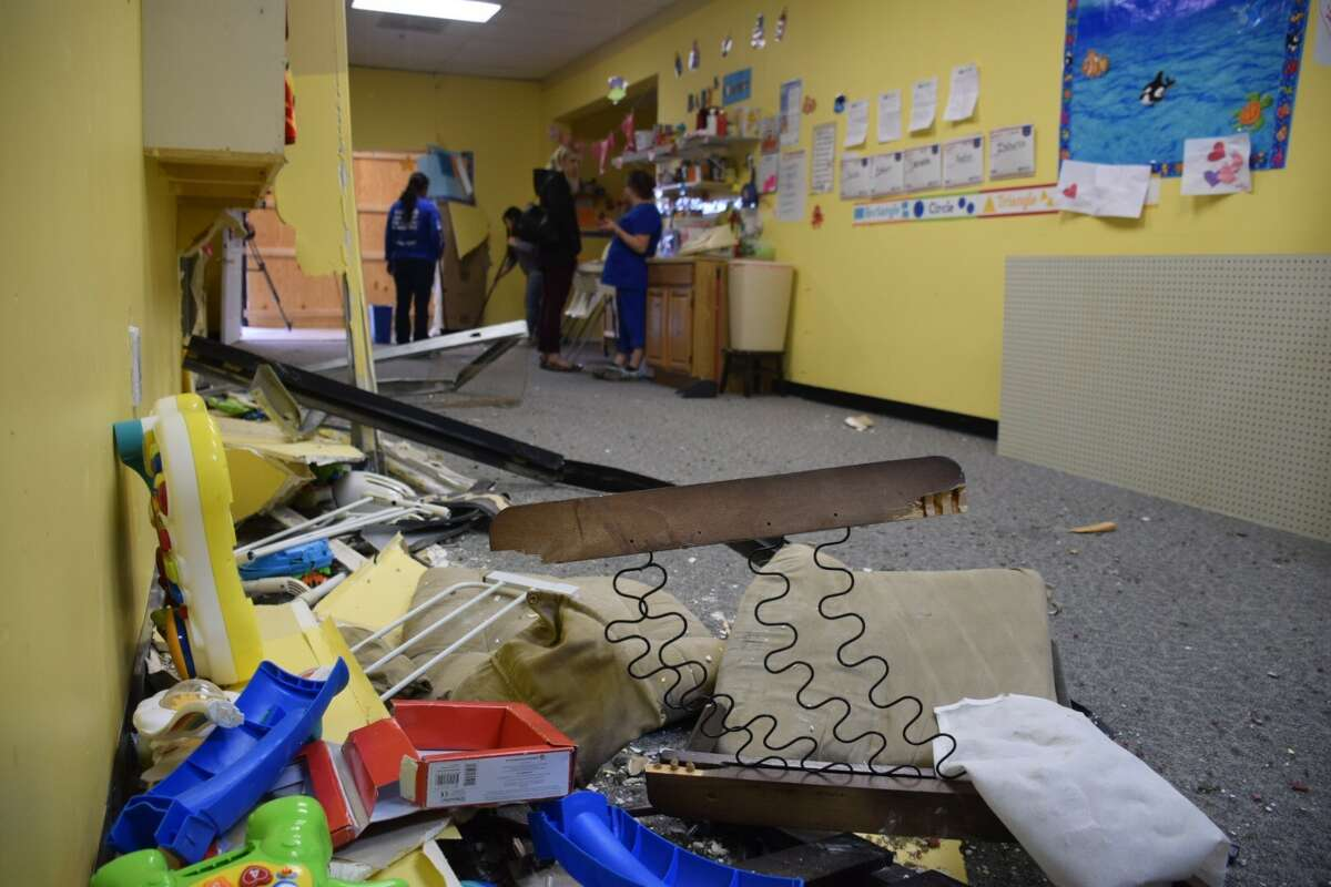 Police and emergency personnel responded at 10:42 a.m. Friday to the Choo Choo Xpress Child Care Center at 750 Schneider Drive, where they found a woman had crashed her Mercedes SUV into the front of the day care, according to the news release.
