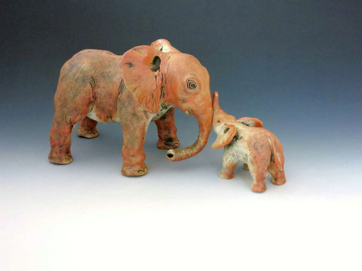 This mother-and-child elephant pair by Sally Ng, a Greenwich ceramicist, are part of
