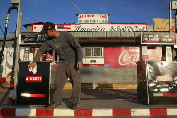 Jerry Singh runs the family business, the A-1 Food and Gas in Visalia, Ca., on Tuesday Jan. 31, 2017.