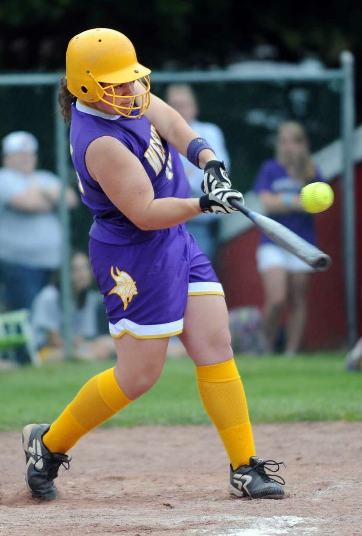 Westhill's Jennifer Joseph gets a hit during the FCIAC Softball Championship game against Trumbull Thursday May 27, 2010 at Sacred Heart University in Fairfield.