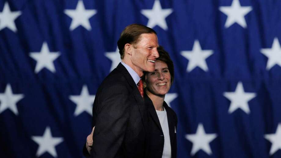 Attorney General Richard Blumenthal, left, with his wife Cynthia Blumenthal, as he accepts the Democratic nomination to run as the Democratic candidate for U.S. Senator. Photo: Bob Luckey, ST / Greenwich Time