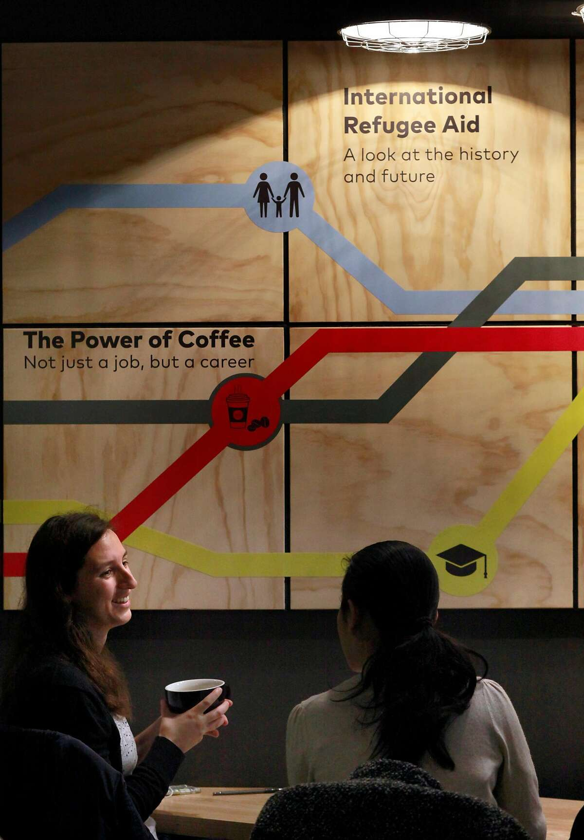 Katherine McGauley, (left) and Ahn Tran enjoy their coffee at 1951 Coffee Company in Berkeley, Ca., as seen on Friday Feb. 3, 2017. The 1951 Coffee Company trains Bay Area refugees as baristas to work in their newly opened cafe.